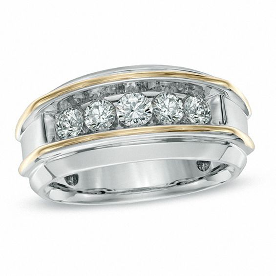 Men S 1 Ct T W Diamond Five Stone Band In 10k Two Tone