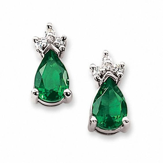 Lab Created Emerald Earrings In 14k White Gold With Diamond Accents
