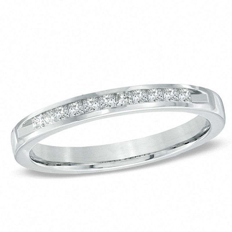 White Gold Wedding Band.1 4 Ct T W Princess Cut Diamond Wedding Band In 14k White Gold