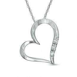 Diamond Accent Three Stone Heart Pendant in 10K White Gold