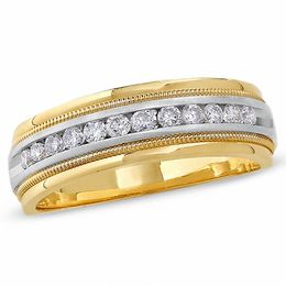 Men's 1/2 CT. T.W. Diamond Channel Milgrain Band in 14K Two-Tone Gold