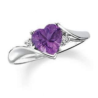 Gordons Credit Card >> Heart-Shaped Amethyst Ring in 10K White Gold with Diamond Accents | View All Gemstone | Gordon's ...