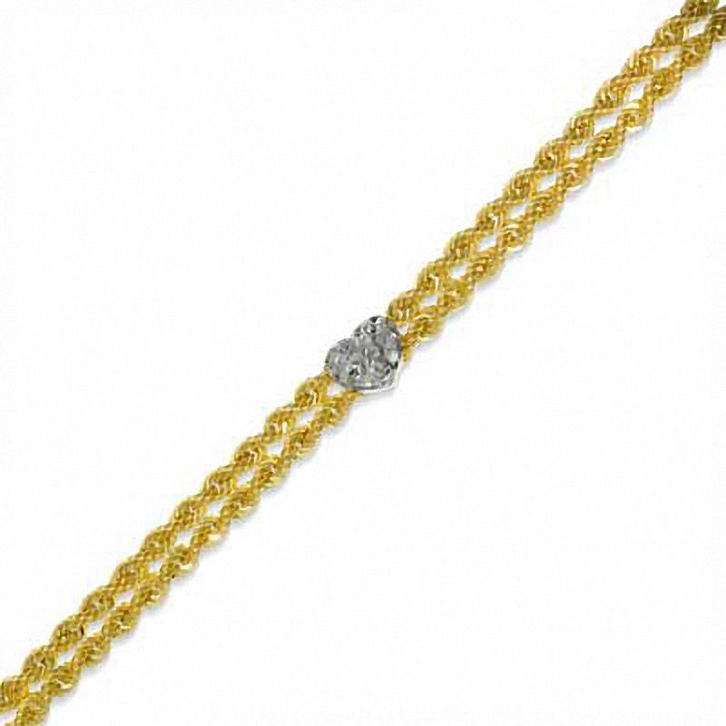 anklet gold zales oval link pin in and heart