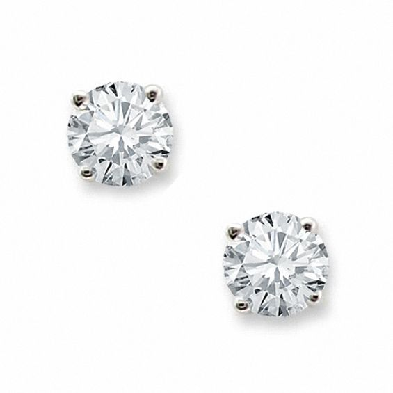 T W Diamond Solitaire Stud Earrings In 14k White Gold