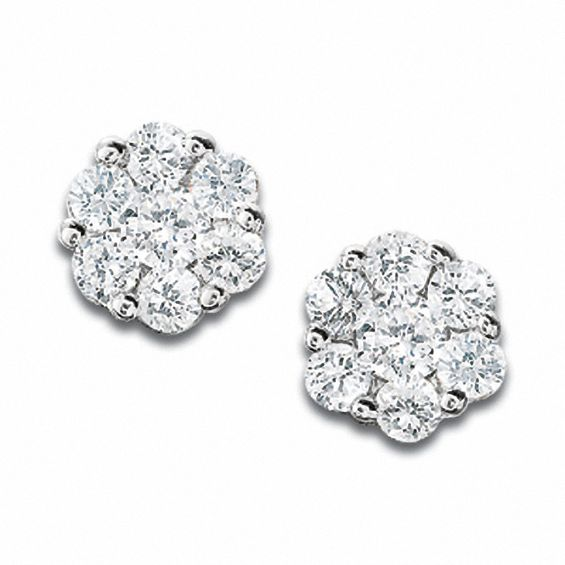 T W Diamond Flower Stud Earrings In 10k White Gold