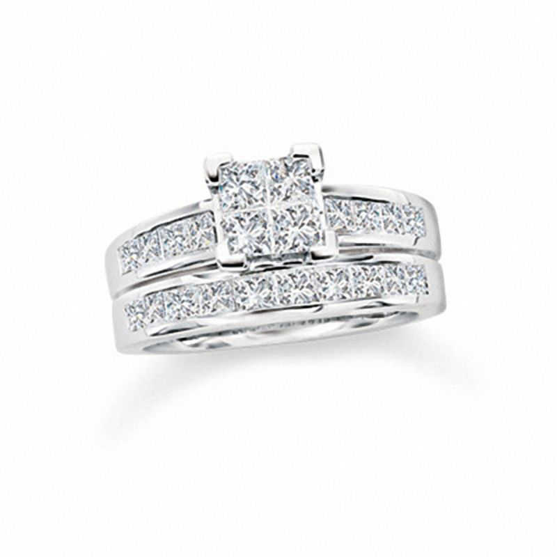 T W Quad Princess Cut Diamond Bridal Set In 14k White Gold