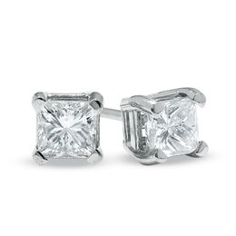 b76cc01c8 1/2 CT. T.W. Princess Cut Diamond Solitaire Stud Earrings in 14K White Gold  ...