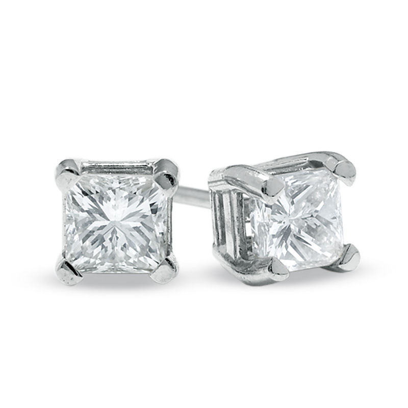 1 2 Ct T W Princess Cut Diamond Solitaire Stud Earrings In 14k White Gold Gordon S Jewelers