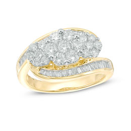 1-1/2 CT. T.W. Diamond Three Flower Bypass Ring in 14K Gold