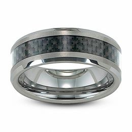Triton Men's 8.0mm Comfort Fit Tungsten and Carbon Fiber Inlay Wedding Band