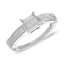1/8 CT. T.W. Diamond Fashion Ring in 10K White Gold