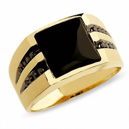 Men's Onyx Ring in 10K Gold with Enhanced Black Diamonds