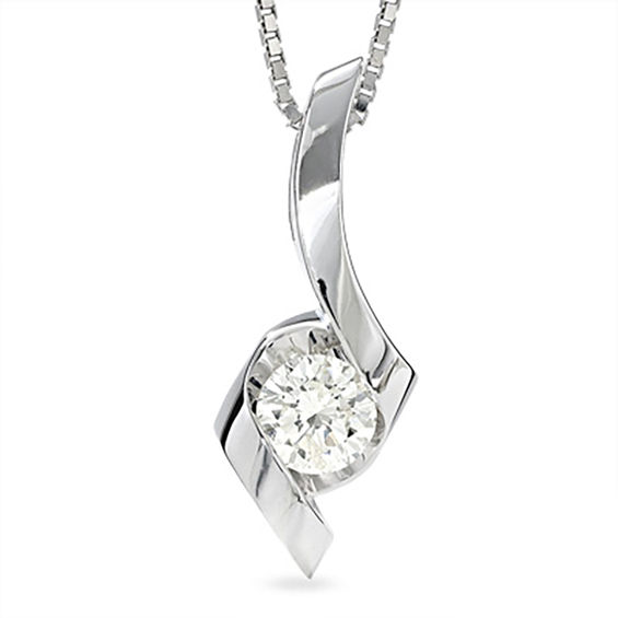 Sirena 12 ct diamond solitaire pendant in 14k white gold sirena diamond solitaire pendant in 14k white gold aloadofball Gallery