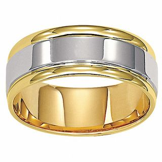 Men S 8 0mm Comfort Fit Wedding Band In 14k Two Tone Gold