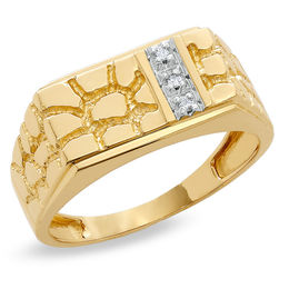 Men's Diamond Accent Rectangle Nugget Ring in 10K Gold