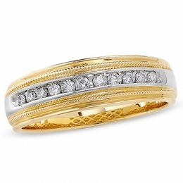 Men's 1/4 CT. T.W. Diamond Channel Milgrain Band in 14K Two-Tone Gold
