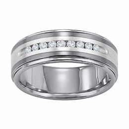 Triton Men's 8.0mm 1/4 CT. T.W. Diamond Tungsten and Sterling Silver Wedding Band