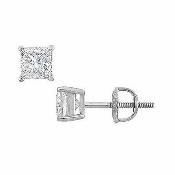 1 Ct T W Certified Princess Cut Diamond Solitaire Stud Earrings In Platinum I