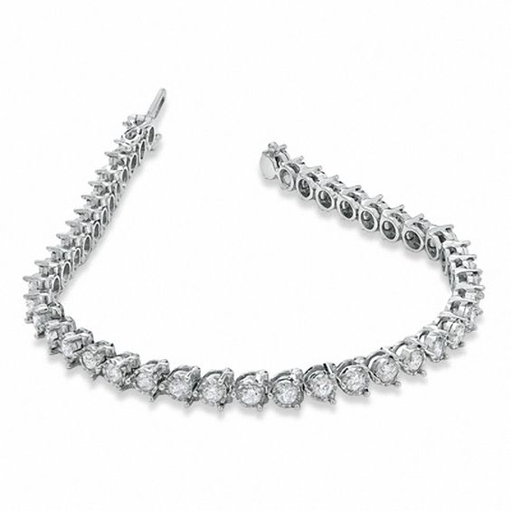 4 Ct T W Diamond Tennis Bracelet In 14k White Gold Las