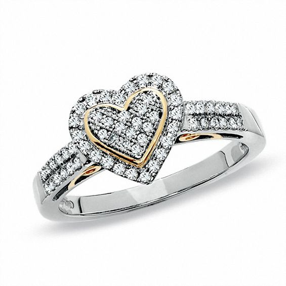 13 CT TW Diamond Pav Heart Ring in 10K TwoTone Gold View All