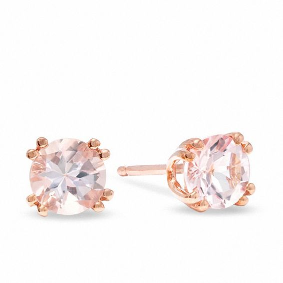 5 0mm Morganite Stud Earrings In 10k Rose Gold