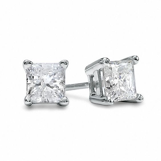 1 Ct T W Princess Cut Diamond Solitaire Stud Earrings In 14k White Gold