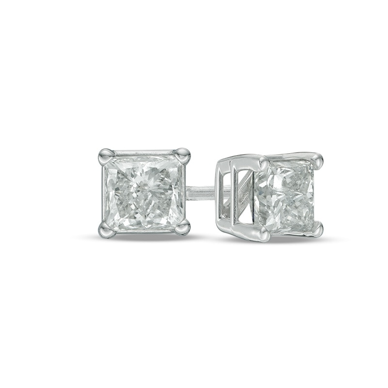 1 Ct T W Princess Cut Diamond Solitaire Stud Earrings In 14k White Gold Gordon S Jewelers