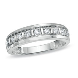 Men's 1/3 CT. T.W. Diamond Wedding Band in 10K White Gold
