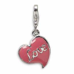 "Amore La Vita™ Pink ""Love"" Heart Charm in Sterling Silver"