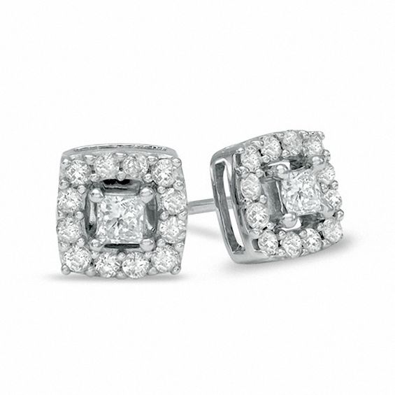 1 2 Ct T W Princess Cut Diamond Frame Stud Earrings In 10k White