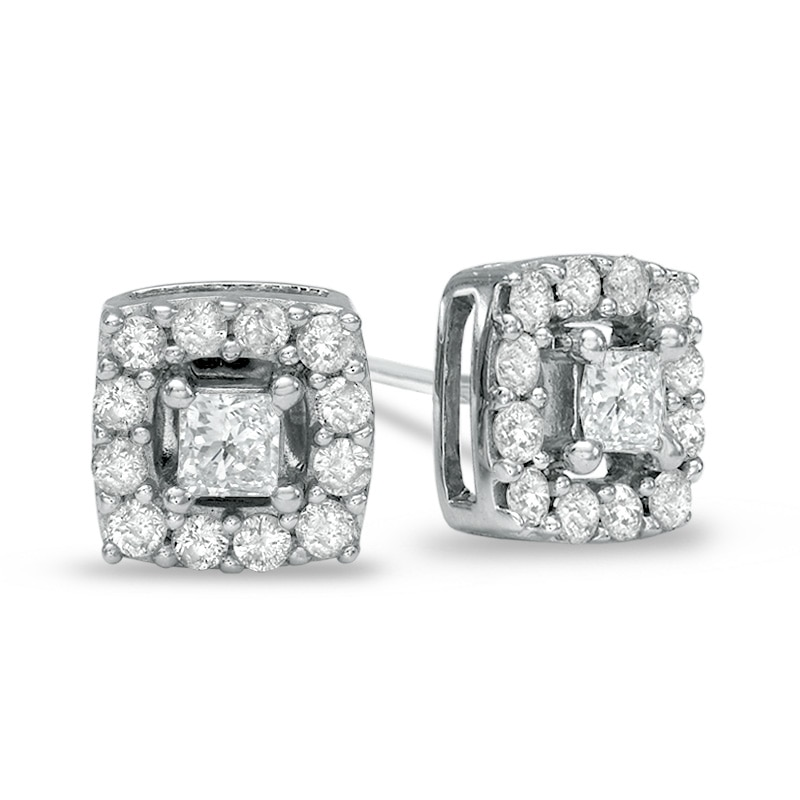 3 4 Ct T W Princess Cut Diamond Frame Stud Earrings In 10k White Gold Gordon S Jewelers