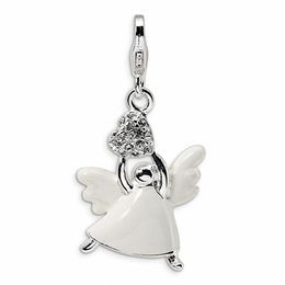 Amore La Vita™ White Angel and Heart Charm with Crystals in Sterling Silver