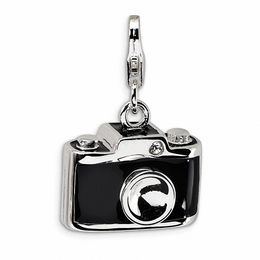 Amore La Vita™ Black Camera Charm with Crystals in Sterling Silver