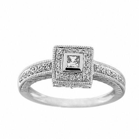 1/3 CT. T.W. Princess-Cut Diamond Framed Ring in 10K White Gold ...