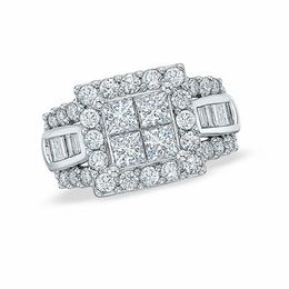 2 CT. T.W. Quad Princess-Cut and Baguette Diamond Engagement Ring in 14K White Gold