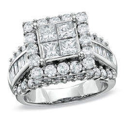 3 CT. T.W. Quad Princess-Cut Diamond Engagement Ring in 14K White Gold
