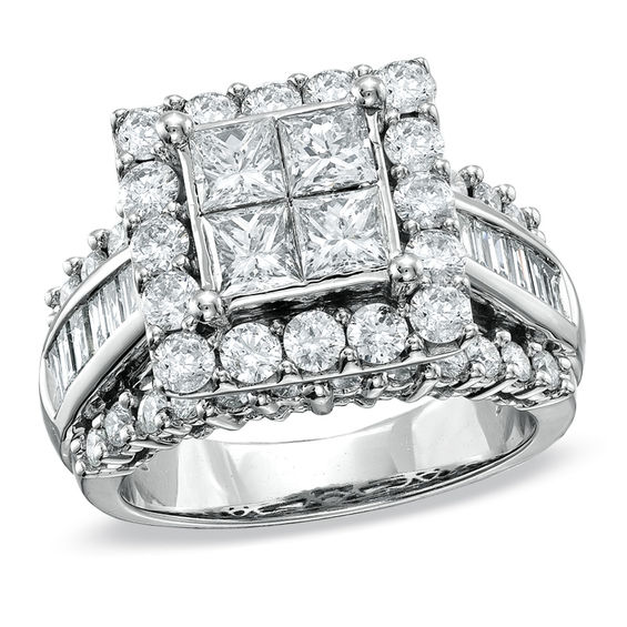 Diamond Wedding Band 1 3 Ct Tw Princess Cut 14k White Gold: 3 CT. T.W. Quad Princess-Cut Diamond Engagement Ring In