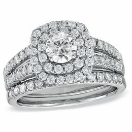 tw diamond double frame bridal set in 14k white - Wedding Set Rings