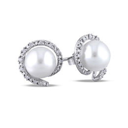 8 - 8.5mm Cultured Freshwater Pearl and 1/10 CT. T.W. Diamond Frame Stud Earrings in 10K White Gold
