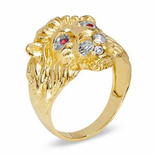 Gordons Credit Card >> Men's Lion Ring with Lab-Created Ruby and Diamond Accents in 10K Gold | Gemstone Rings | Rings ...