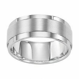 Triton Men's 9.0mm Comfort Fit White Tungsten Wedding Band