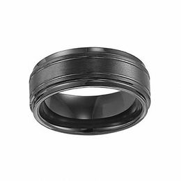 Triton Men's 9.0mm Comfort Fit Double Groove Black Tungsten Wedding Band