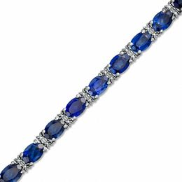 Oval Lab-Created Ceylon Sapphire and Diamond Accent Bracelet Sterling Silver - 7.25""