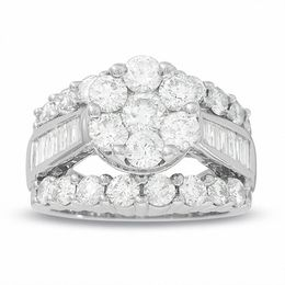 4 CT. T.W. Composite Diamond Cluster Engagement Ring in 14K White Gold