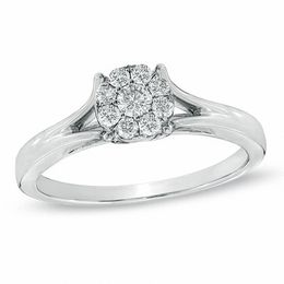 1/4 CT. T.W. Composite Diamond Engagement Ring in 10K White Gold