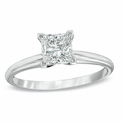 1 Ct Princess Cut Diamond Solitaire Engagement Ring In 14k