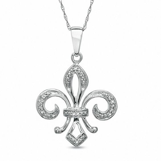Diamond accent fleur de lis pendant in 10k white gold view all diamond accent fleur de lis pendant in 10k white gold aloadofball