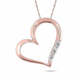 Diamond Accent Three Stone Tilted Heart Pendant in 10K Rose Gold