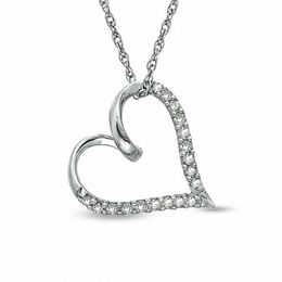 1/10 CT. T.W. Diamond Twirl Heart Pendant in Sterling Silver