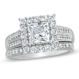 6.0mm Princess-Cut Lab-Created White Sapphire Fashion Ring Set in Sterling Silver - Size 7
